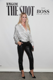 Lindsay Ellingson looked cool in a printed satin wrap top while attending the Shot event.