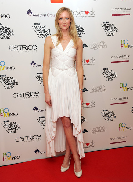 Jade Parfitt looked like a Grecian goddess in her white pleated dress with a delicate high-low hem.