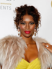 Lovely Jessica White paired a her bold, yellow dress with a strong red lip at the WGSN Global Fashion Awards.