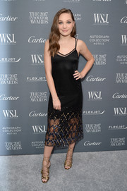 Maddie Ziegler looked so mature and sophisticated in a black slip dress with an embellished hem at the WSJ. Magazine 2017 Innovator Awards.
