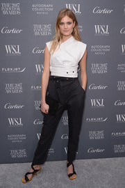 Constance Jablonski teamed her top with a pair of high-waisted pants, also by Proenza Schouler.