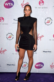 Madison Keys complemented her dress with lacy black open-toe booties.