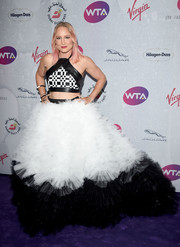 Bethanie Mattek-Sands made a head-turning entrance in a super-frothy black-and-white  tulle skirt by Erik Speer at the WTA pre-Wimbledon party.