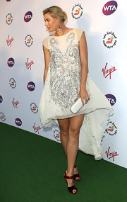 Maria Sharapova looked angelic in this white beaded dress at the Wimbledon party.
