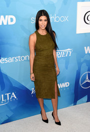 Kourtney Kardashian played matchy-matchy with this Alice + Olivia suede skirt and top combo.