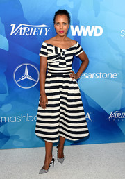 Kerry Washington balanced out her fitted top with a matching flared skirt.