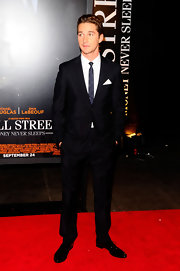 "Does Shia LaBeouf clean up well or what? The occasional Hollywood bad boy took a dapper turn at the premiere of his new film, ""Wall Street: Money Never Sleeps,"" in this classic black suit. Bonus points for the white handkerchief!"