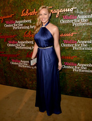 Abbie Cornish looked voluptuous in a blue halter gown by Ferragamo during the Wallis Annenberg Center Inaugural Gala.