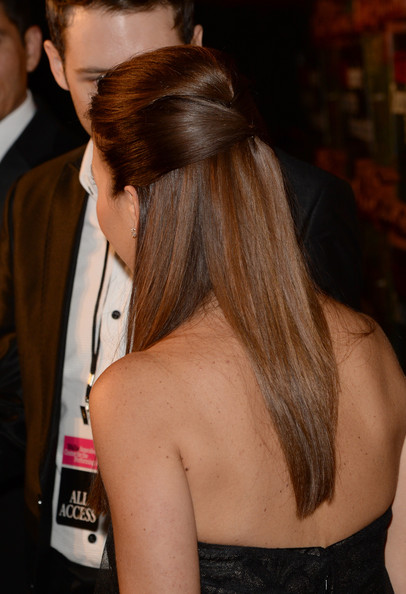 Monique Lhuillier styled her hair in a sleek half-up half-down 'do for the Wallis Annenberg Center Inaugural Gala.