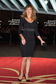 Julie Ferrier wore a simple yet elegant figure-hugging LBD to the 'Waltz with Monica' photocall.