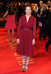 Jessica Brown-Findlay's crimson number was the perfect day-to-night dress. The subtle pleating and sheer sleeves made this look pop.