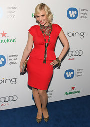 Natasha Bedingfield made a bold fashion statement wearing this oversize necklace to a post-Grammy event.