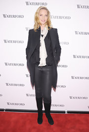 Uma Thurman hit the red carpet of Live a Crystal Life in metallic black skinny jeans.