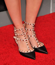 AnnaSophia added some punk edge to her girlie floral frock by sporting nude studded heels.