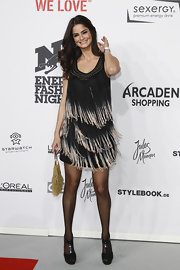 Shermine Shahrivar was all smiles at the We Love Energy Fashion Night wearing a gorgeous fringed dress.