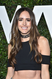 Louise Roe looked hippie-chic with her center-parted waves at the Who What Wear 10th anniversary event.