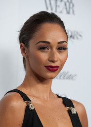 Cara Santana slicked her hair back in a casual ponytail for the Who What Wear event.
