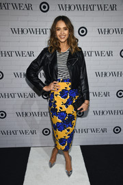 Jessica Alba made clashing prints look so stylish with this floral skirt and striped shirt combo, both by Target x Who What Wear, during the collaboration's launch.