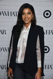 Hannah Bronfman accessorized with gold Nitya Chandra earrings and a matching ring at the Who What Wear x Target Launch Party.