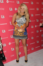 Jessica Simpson teamed her print A-line dress with black satin La Rocque wedges.