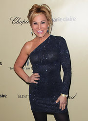 Adrienne Maloof glammed it up in a glittery black one-shoulder dress at the 2013 Golden Globes after-party.