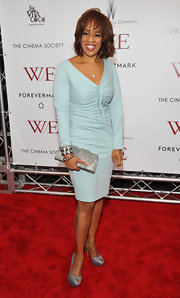 Gayle King wore a pale blue cocktail dress with silver accessories to the 'W.E.' premiere in NYC.