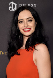 Krysten Ritter wore casual shoulder-length curls when she attended the Weinstein Company and Netflix Golden Globe party.