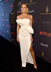 Renee Bargh kept it fun yet glam at the Weinstein Company and Netflix Golden Globe party in a strapless white Rachel Gilbert gown adorned with a huge bow at the front.