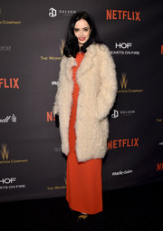 Krysten Ritter arrived for the Weinstein Company and Netflix Golden Globe party all bundled up in a fluffy fur coat.