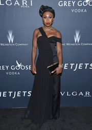 Cynthia Erivo stayed on trend in a dual-textured black off-one-shoulder gown by Gabriela Hearst at the Weinstein Company pre-Oscar dinner.