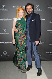 Vivienne Westwood attended the 2012 Luxury Business Conference looking flamboyant in an iridescent green maxi dress.