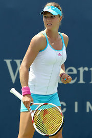 Tennis pro Maria Kirilnko wore a gold chain while playing in the Western & Southern Open.