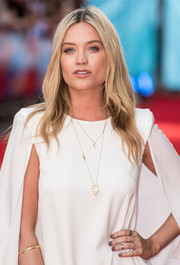 Laura Whitmore paired gray nail polish with a caped white dress for the premiere of 'What If.'