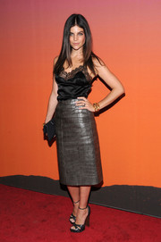 Julia Restoin-Roitfeld was edgy-glam in a gray croc-embossed leather skirt at the Whitney Museum of American Art Gala.