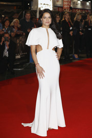 Michelle Rodriguez was all about modern glamour in a white cutout gown by Julianna Bass at the European premiere of 'Widows.'