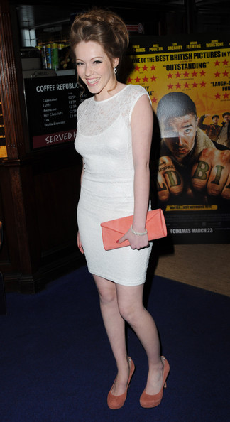 Charlotte Spencer wore a pair of suede pumps in a subtle earthy shade at the premiere if 'Wild Bill.'