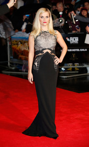Reese Witherspoon vamped it up at the 'Wild' London premiere in a Stella McCartney gown featuring a mixed-material bodice and a sheer panel along the waistline.