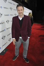 David Arquette chose a deep shade of burgundy for his blazer, which he wore to the I.AM.Angel Foundation red carpet.