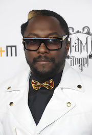 will.i.am kept his gold theme going with gold trimmed rectangular sunglasses.