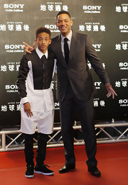 Jaden Smith looked zany in his black-and-white button-down and shorts while promoting 'After Earth' in Taiwan.