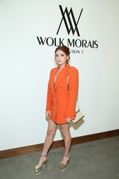 Willow Shields Metallic Shoulder Bag [clothing,shoulder,orange,fashion,fashion model,yellow,joint,leg,footwear,outerwear,west hollywood,california,the jeremy hotel,wolk morais collection 7 fashion show,arrivals,willow shields]