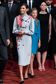 Queen Letizia of Spain looked perfectly refined in a floral-embroidered gray dress by Pertegaz at the 2019 Princesa de Asturias Awards.