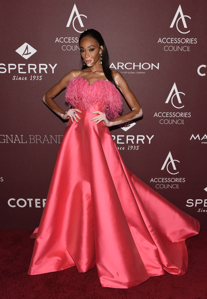 Winnie Harlow Strapless Dress [clothing,dress,gown,pink,red carpet,fashion model,carpet,shoulder,a-line,fashion,dress,winnie harlow,ace awards,annual ace awards,red carpet,fashion,model,celebrity,clothing,cipriani 42nd street,celebrity,red carpet,fashion,model,cipriani 42nd street,supermodel,fashion show,satin,beauty]