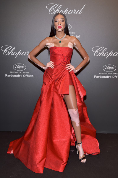 Winnie Harlow Strappy Sandals [gown,fashion model,dress,flooring,fashion show,beauty,lady,model,cocktail dress,shoulder,caroline scheufele,winnie harlow,rihanna,chopard space party - photocall,cannes,france,port canto,chopard space party,chopard,cannes film festival]
