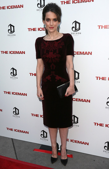 Winona Ryder Frame Clutch [clothing,dress,cocktail dress,fashion model,shoulder,little black dress,carpet,red carpet,premiere,joint,arrivals,the iceman,winona ryder,screening,arclight hollywood,los angeles,california,millennium entertainment,premiere]