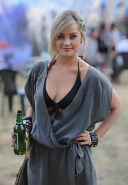 Laura Whitmore added a touch of edginess to her Wireless Festival look with a studded black leather bracelet.