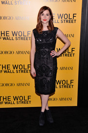 Aya Cash was classic and sophisticated (if you ignore the shoes) in an embellished LBD during the NYC premiere of 'The Wolf of Wall Street.'