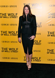 Georgia Kacandes looked seriously stylish in a black satin-lapel skirt suit during the NYC premiere of 'The Wolf of Wall Street.'