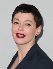 Rose McGowan made an appearance at the Wolk Morais debut fashion show wearing her signature pixie.
