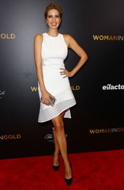 Ivanka Trump looked simply flawless at the 'Woman in Gold' premiere in a little white dress with an asymmetrical mesh hem.